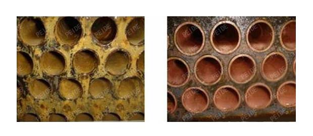 comparison before and after using the condenser tube cleaning system