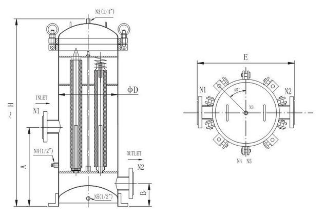 cartridge filter housing 4
