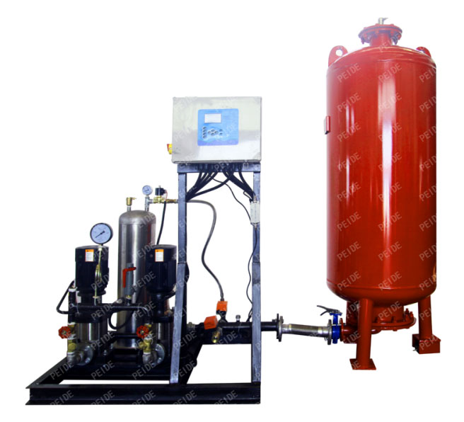 Front view of automatic pump controlled pressurisation unit with expansion tank & independent vacuum deaerator