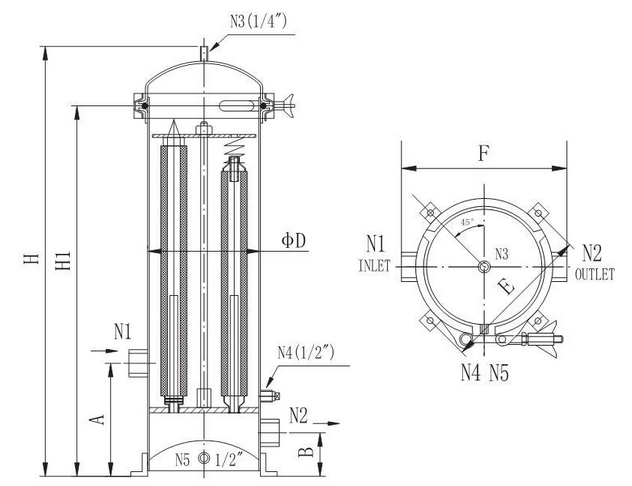 cartridge filter housing 2